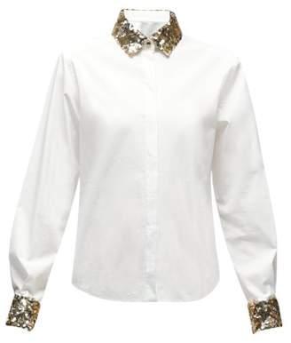 Dolce & Gabbana Sequinned Collar Cotton Blend Poplin Shirt - Womens - White Multi