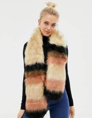 New Look Faux Fur Stripe Stole