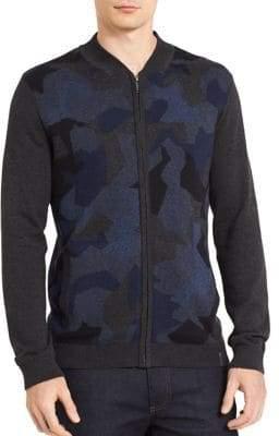 Calvin Klein Jeans Camo Zip-Front Cotton Sweatshirt