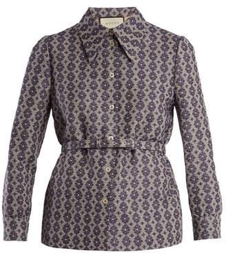 Gucci Point Collar Belted Linen Blend Jacquard Shirt - Womens - Blue