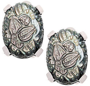 Stephen Dweck Sterling Carved Gemstone Clip-OnEarrings