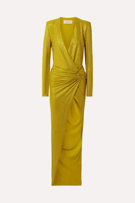 Alexandre Vauthier Draped Crystal-embellished Stretch-georgette Gown - Gold