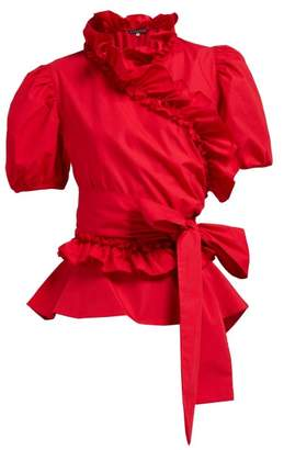 ALEXACHUNG Ruffle Trimmed Cotton Poplin Wrap Top - Womens - Red