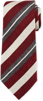 Ermenegildo Zegna Seasonal Stripe Silk-Linen Tie, Red