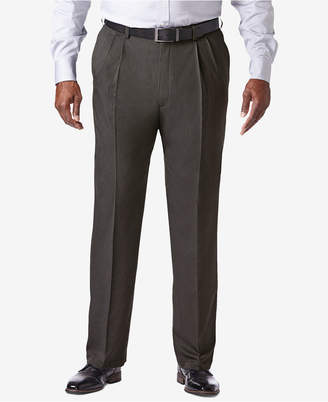 Haggar Men Big & Tall Cool 18 Pro Classic-Fit Expandable Waist Pleated Stretch Dress Pants