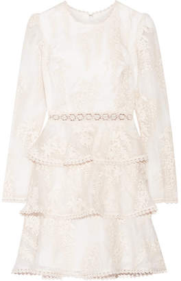 Zimmermann - Maples Embroidered Crocheted Lace-trimmed Silk-organza Mini Dress - White $995 thestylecure.com