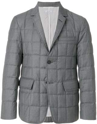 Thom Browne Downfilled Classic Single Breasted Sport Coat In Medium Grey Super 130's Wool Twill