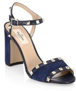 Valentino Rockstud Leather Ankle-Strap Sandals