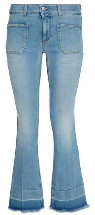 Frayed Faded Mid-Rise Flared Jeans
