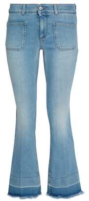 Stella McCartney Frayed Faded Mid-Rise Flared Jeans