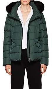 Herno Women's Fox-Fur-Trimmed Down Short Puffer Jacket - Green