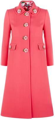 Dolce & Gabbana Rose Detail Wool Coat