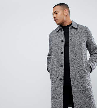 Asos DESIGN Tall wool mix overcoat in black texture