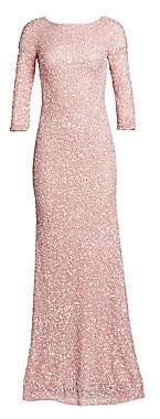 Theia Women's Boatneck Sequin Tulle Gown