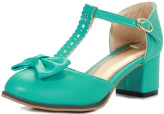 DoraTasia Women's Lolita Sweet Vintage T-Strap Bows Adorable Buckle High Chunky Heel Mary Janes Dress Pumps