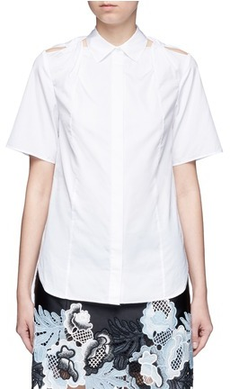 3.1 Phillip Lim 3.1 Phillip Lim Twist knot cutout shoulder cotton shirt