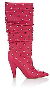 Valentino Women's Rockstud Leather Knee Boots - Pink