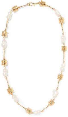 ATTICO Alican Icoz Torsado Gold-plated Pearl Necklace