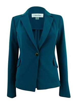 Calvin Klein Women's Petite One Button Jacket in Scuba Crepe