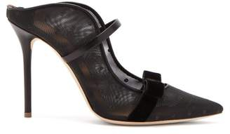 Malone Souliers By Roy Luwolt - Marguerite Velvet Bow Mesh Mules - Womens - Black