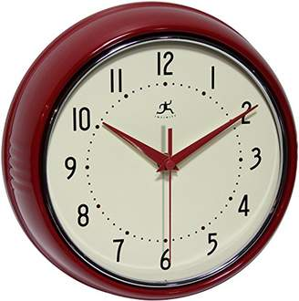 Infinity Instruments 9.5 inch SILENT Metal Red Wall Clock Round Retro