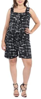 24/7 Comfort Apparel 24Seven Comfort Apparel Everly Black and White Plus Size Romper