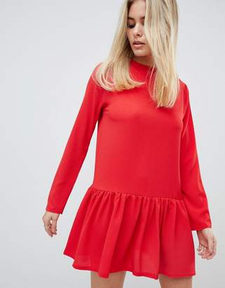 PrettyLittleThing long sleeve frill hem shift dress in red