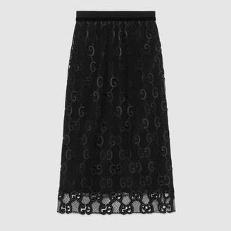 Gucci GG leather macrame skirt