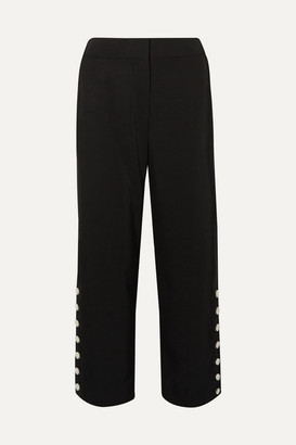 Rag & Bone Tia Button-embellished Cropped Twill Straight-leg Pants - Black