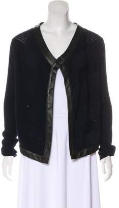 Thakoon Leather-Trimmed Wool Cardigan