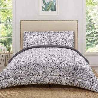 Truly Soft Watercolor Paisley Grey Twin Extra Long Comforter Set