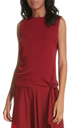 Milly Jana Sleeveless Tie Stretch Silk Top