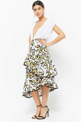 Forever 21 Abstract Floral Print Skirt
