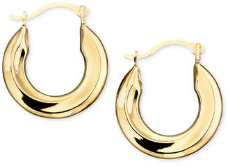 Macy's Small Polished Tube Hoop Earrings in 10k Gold, White Gold and Rose Gold