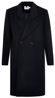 Topman Mens Navy Wool Rich Double Breasted Coat