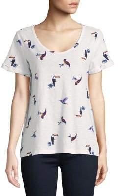 Lord & Taylor Bird Print Cotton Slub V-neck Roll Sleeve Tee
