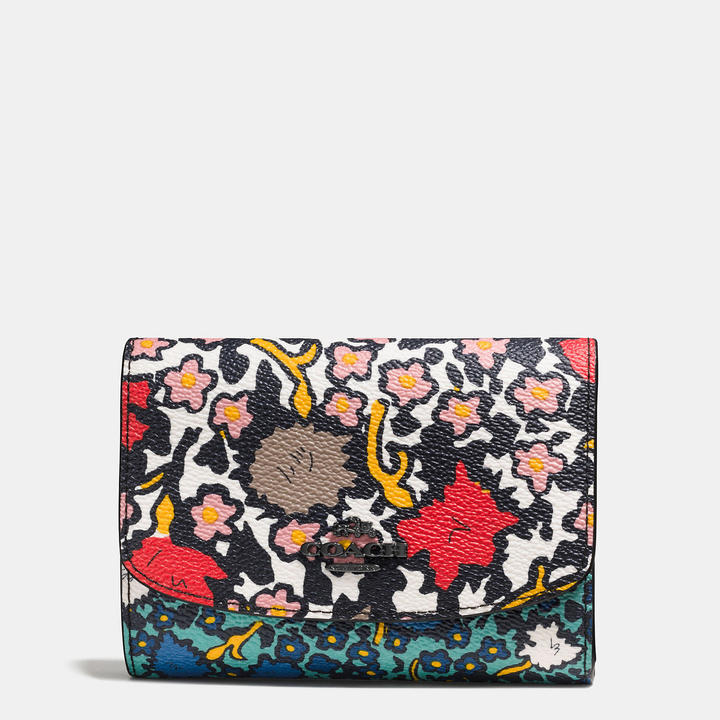 Coach   COACH Coach Medium Double Flap Wallet In Mixed Yankee Floral Print Canvas