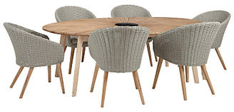 John Lewis & Partners Sol 6 Seater Oval Garden Dining Table & Chairs Set, FSC-Certified (Eucalyptus), Natural