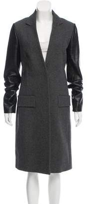 Alexander Wang Leather Accented Wool Coat