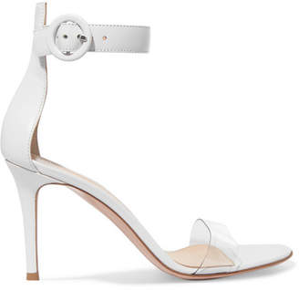 Gianvito Rossi Portofino 85 Pvc-trimmed Leather Sandals - White
