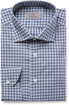 Canali Navy Slim-Fit Checked Cotton-Poplin Shirt - Men - Blue