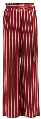 Asceno - Striped Silk Pyjama Style Trousers - Womens - Burgundy Stripe