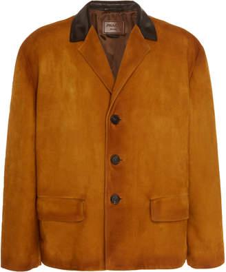 Prada Leather-Trimmed Suede Jacket