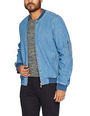 Co Quality Durables Men's Zipper Closure Denim Jacket Blue S