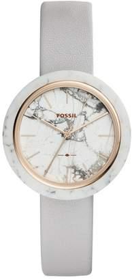 Fossil Men's Medium Round White Leather Strap Watch, 37mm