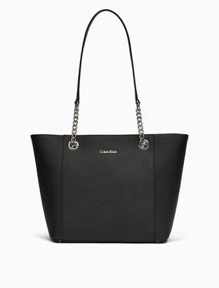 Calvin Klein saffiano leather chainlink tote bag