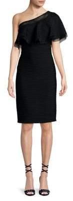 Tadashi Shoji Off-the-Shoulder Popover Pintuck Dress