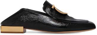 Salvatore Ferragamo 20mm Lana Crackled Leather Loafers