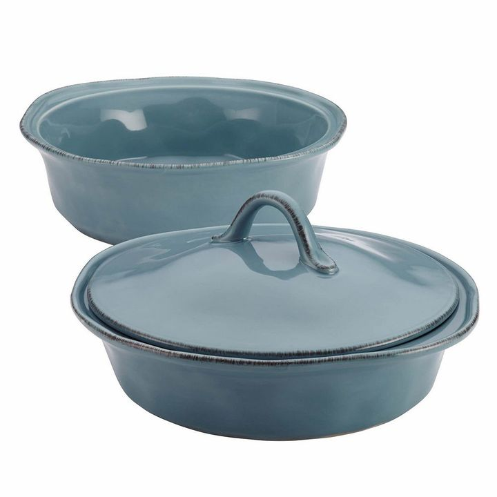 Rachael Ray Cucina 3-pc. Agave Blue Round Baker & Lid Set