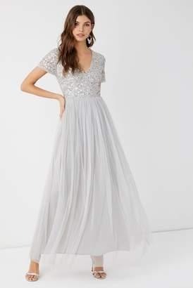 0c908dc65fd6 Next Womens Maya Petite V neck Short Sleeve Sequin Maxi Dress